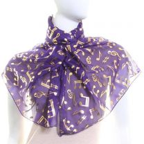 Purple Chiffon Scarf (Musical Notes)