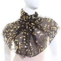 Black Chiffon Scarf (Musical Notes)