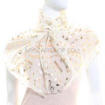 Cream Chiffon Scarf (Musical Notes)