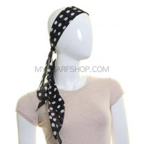 3 in 1 Polka Dot Chiffon Sash Scarf (Black)