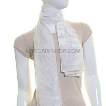 White Floral Sheer Velvet Scarf
