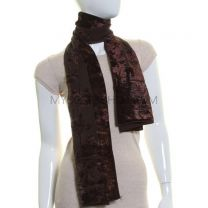 Brown Floral Sheer Velvet Scarf