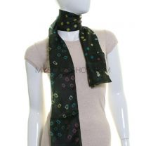 Dark Green Silk Tie Dye Scarf