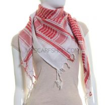 Red and White Cotton Arab Scarf