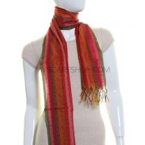Red Paisley Stripes Lightweight Jacquard Pashmina