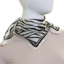 White Zebra Print Silk Neckerchief