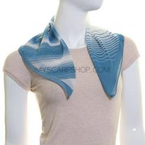 Blue Stripes Chiffon Square Scarf