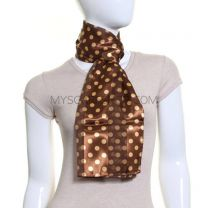 Brown Gold Polka Dot Satin Stripe Scarf