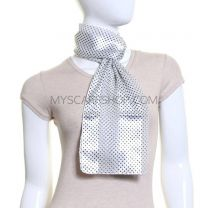 White Mini Polka Dot Satin Stripe Scarf